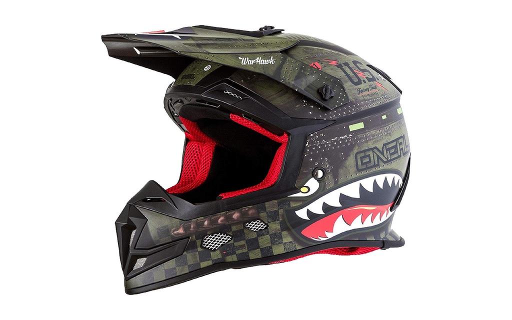 0618-28 ONeal 5Series Warhawk Motocross Helm Schwarz Gr/ün MX Enduro Trail Quad Cross Offroad