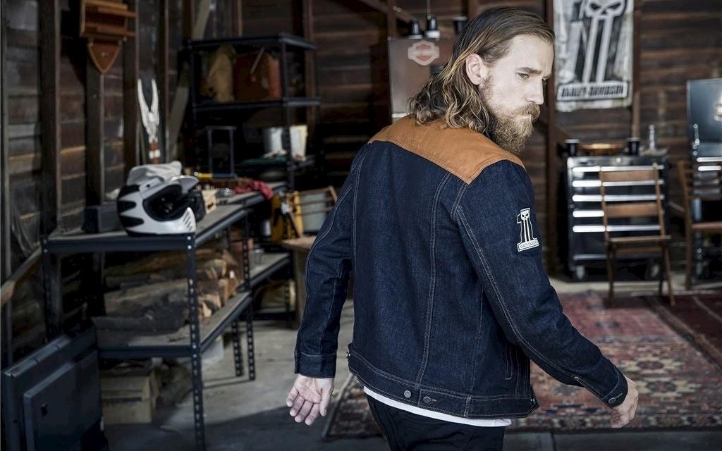 harley-davidson jeans jacke waxed canvas